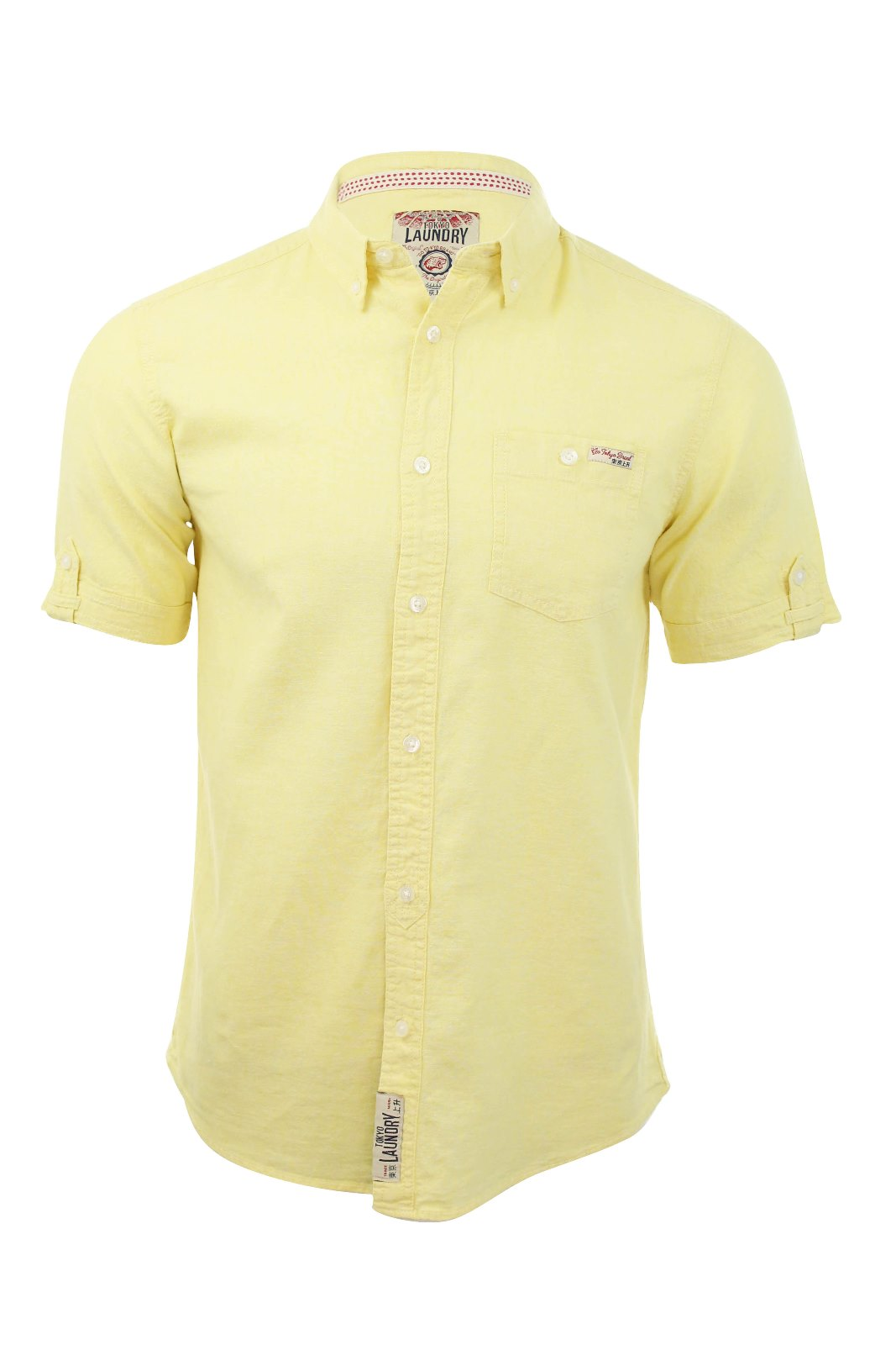 Tokyo laundry mens linen chambray shirt short sleeved ebay for Mens short sleeve linen dress shirts