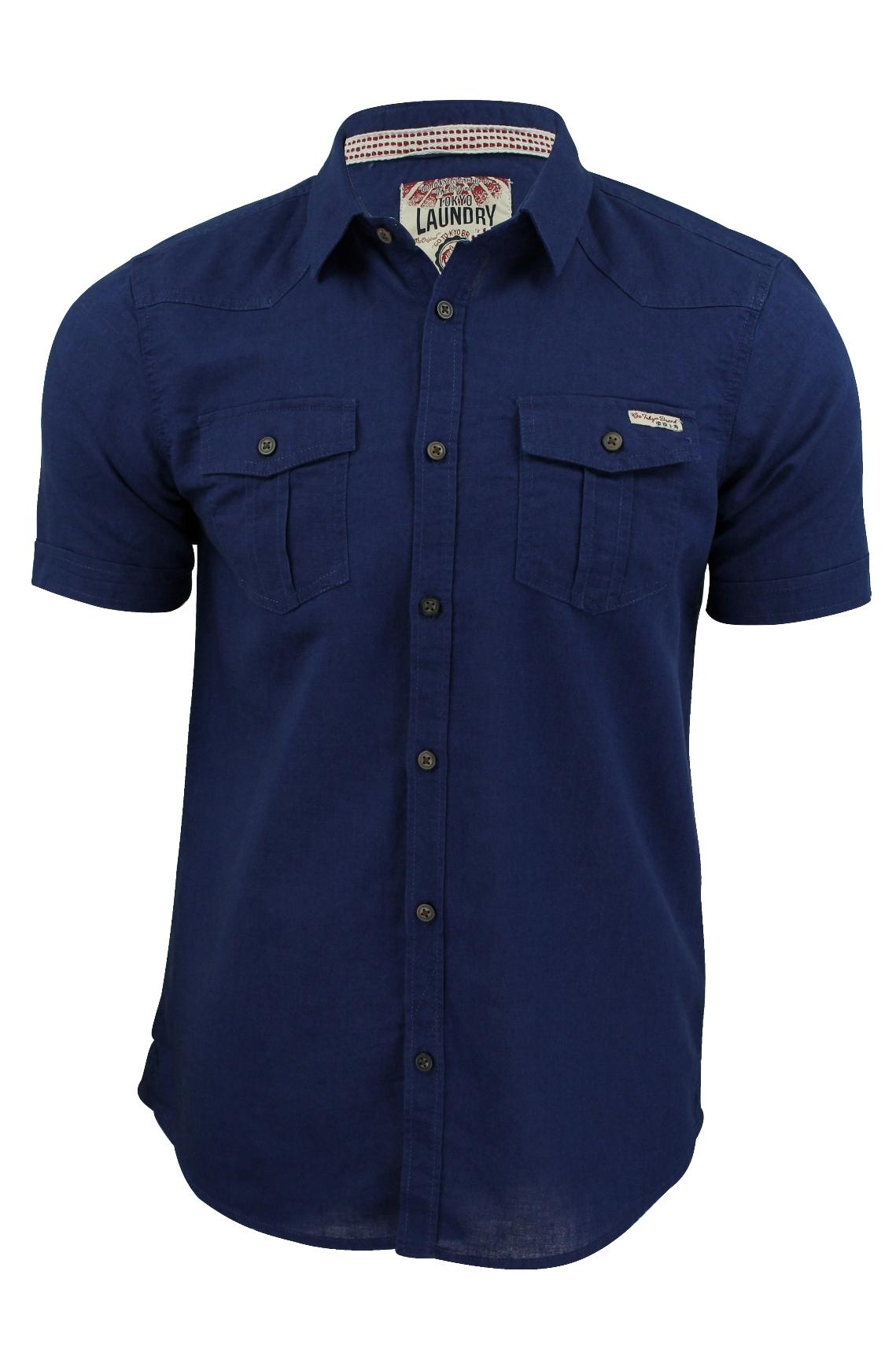 Mens shirt tokyo laundry 39 rosso 39 linen cotton short for Mens summer linen shirts