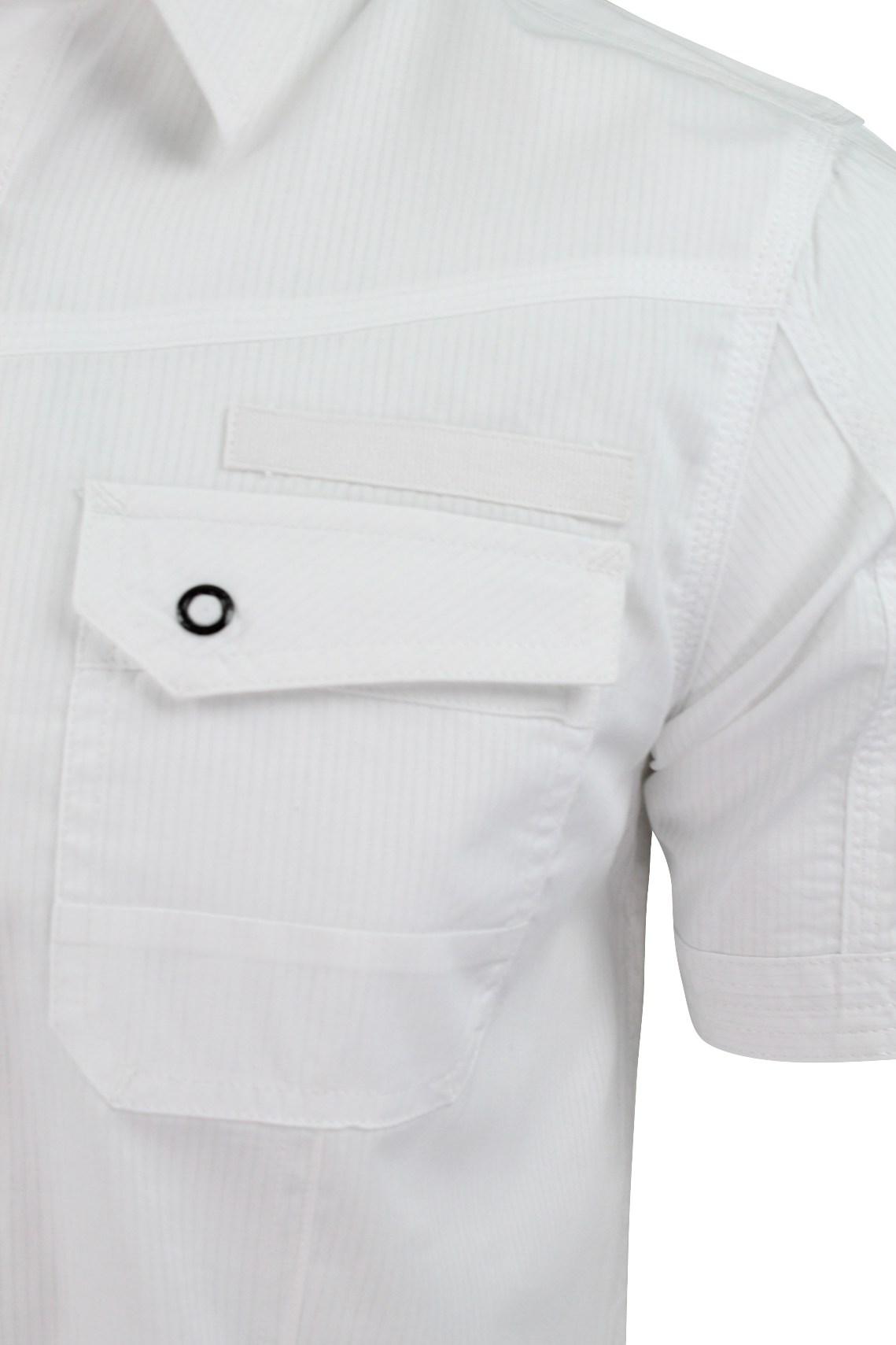 Mens Shirt by Dissident 'Zeta' Dobby Stripe Short Sleeved