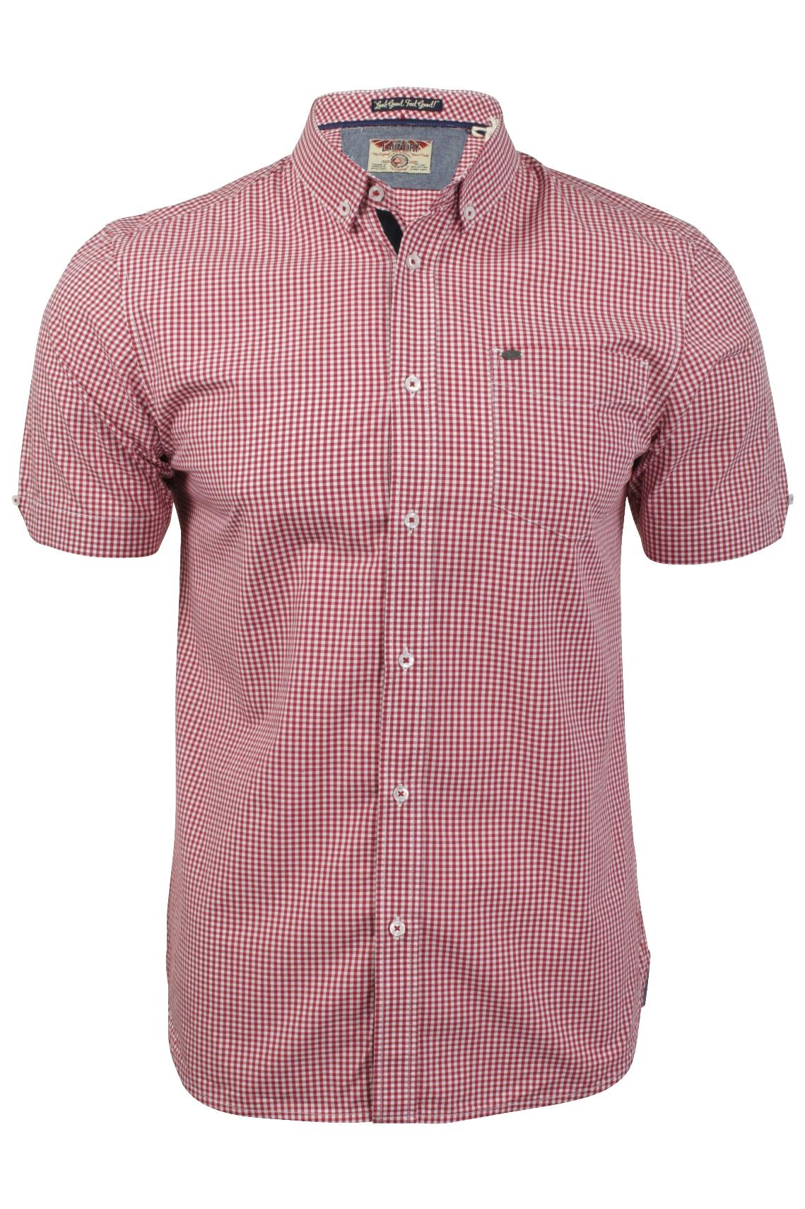 Mens gingham check shirt by tokyo laundry short sleeved ebay for Mens gingham dress shirt