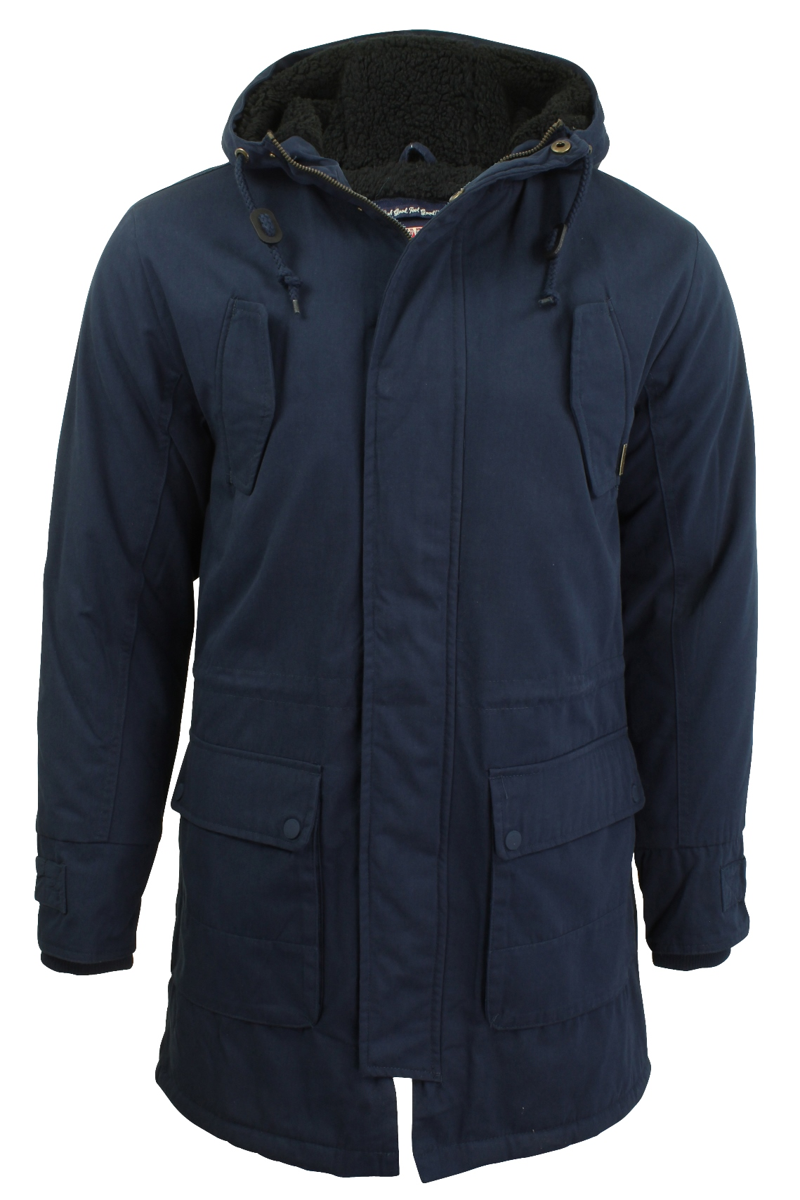Mens Parka Jacket by Tokyo Laundry Hooded Sherpa Lined Fish Tail ...