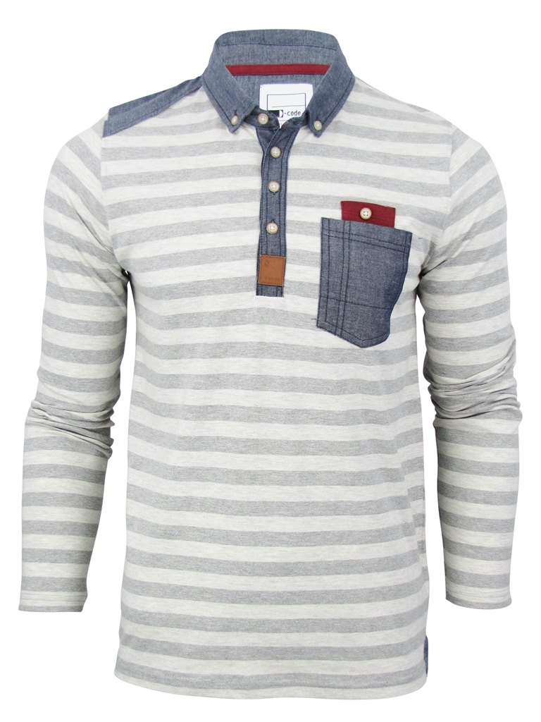 Mens d code striped polo long sleeve denim chambray trim for Mens striped long sleeve t shirt