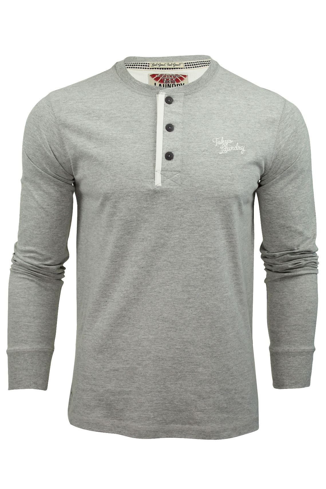 Mens long sleeved t shirt by tokyo laundry grandad neck ebay for Long sleeved white t shirts
