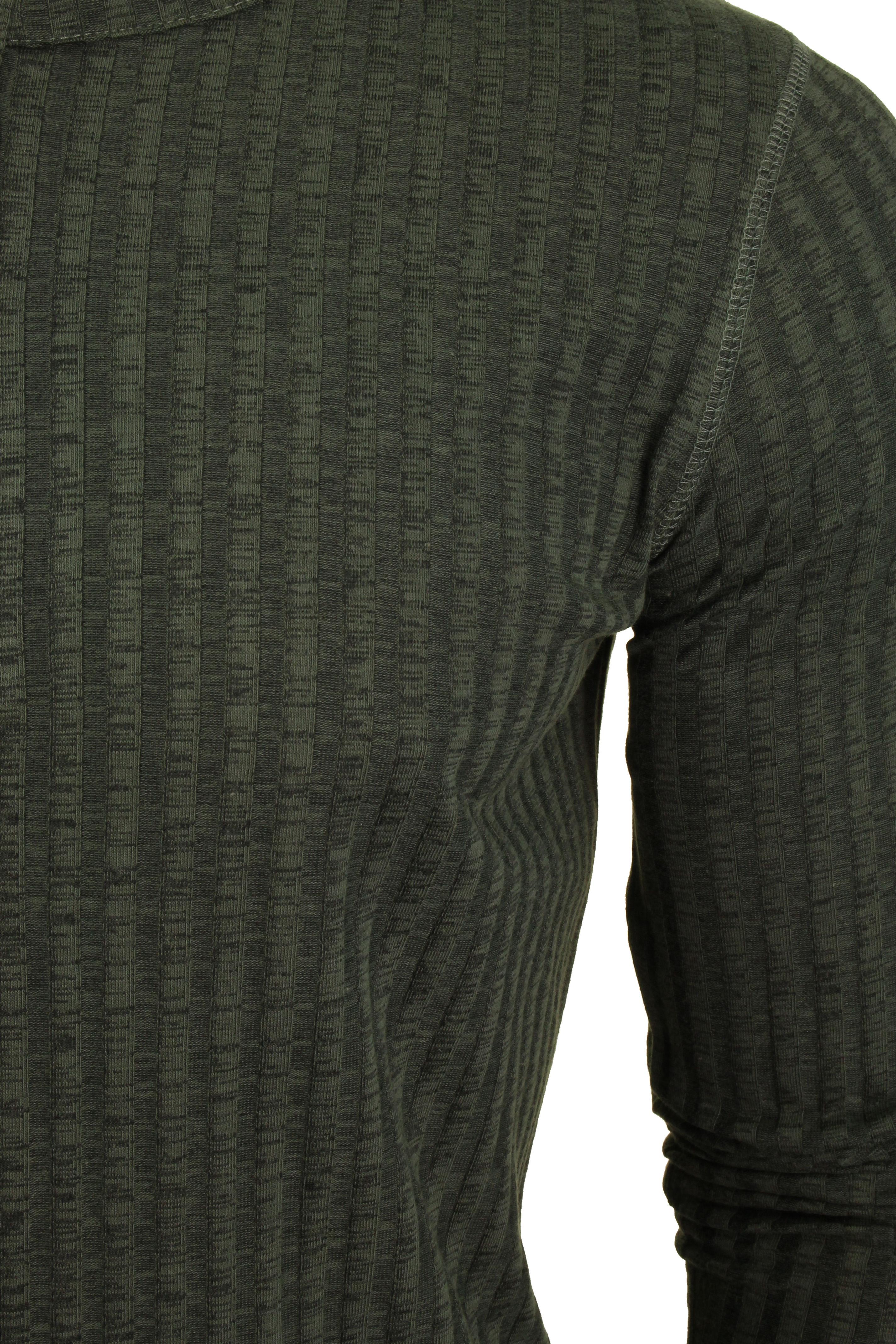 /'Taro/' Dissident Col grand-père Manches longues T-Shirt Homme