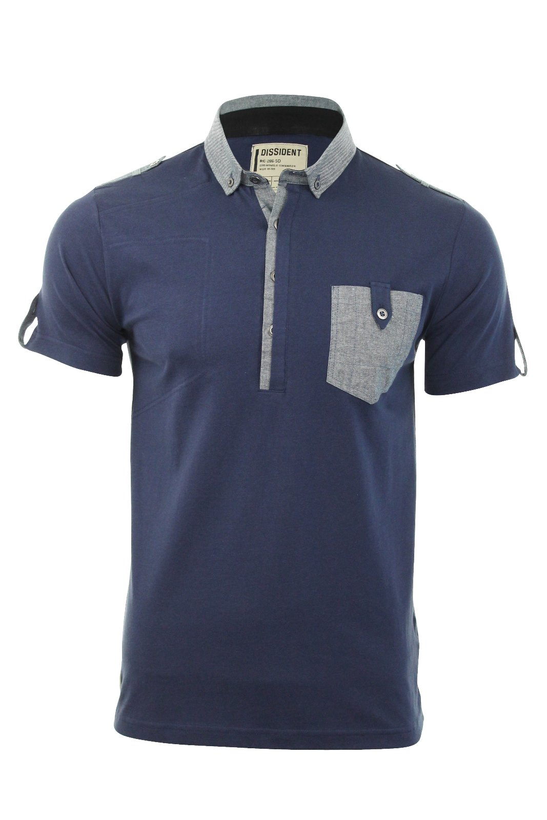 Mens Dissident Polo T Shirt 39 Zoo 1 39 Short Sleeved Chambray