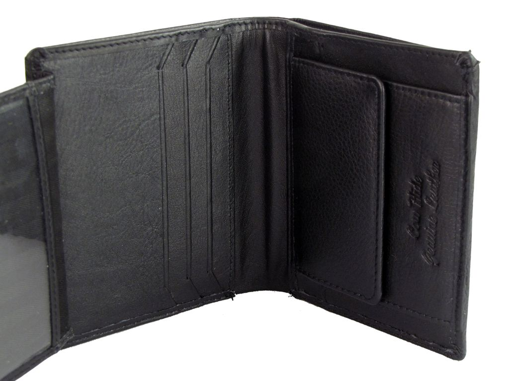 Quality Leather Cow Hide Wallets Black Brown Or Grey In Gift Box