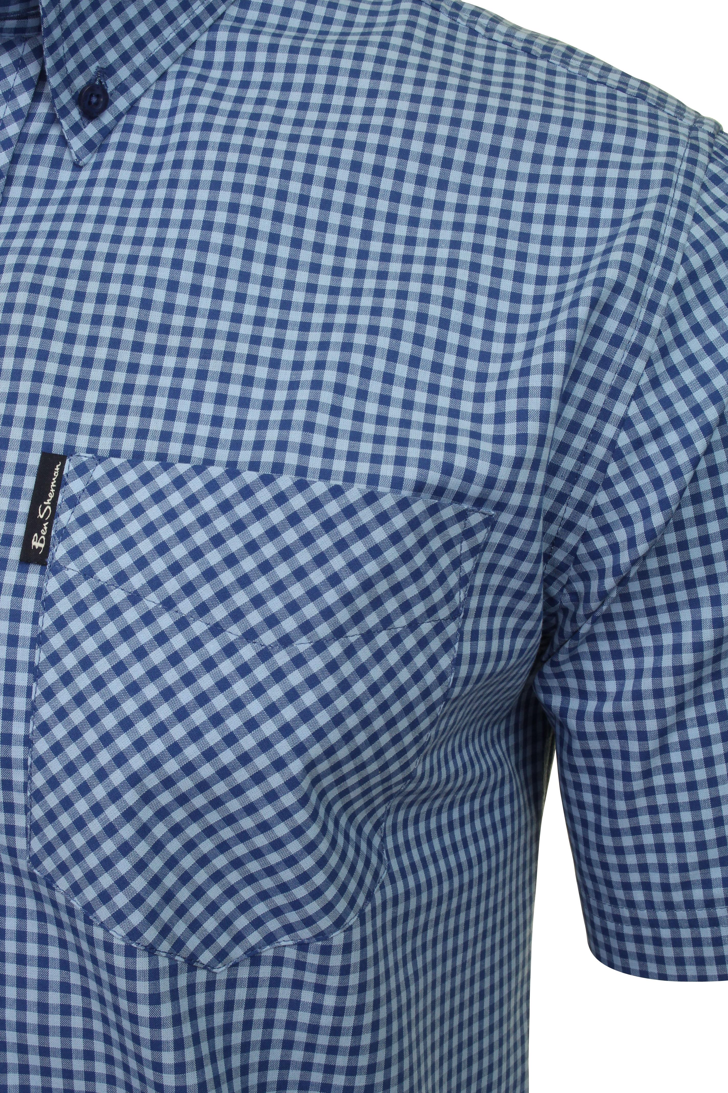 Ben Sherman Mens Short Sleeved Gingham Check Shirt