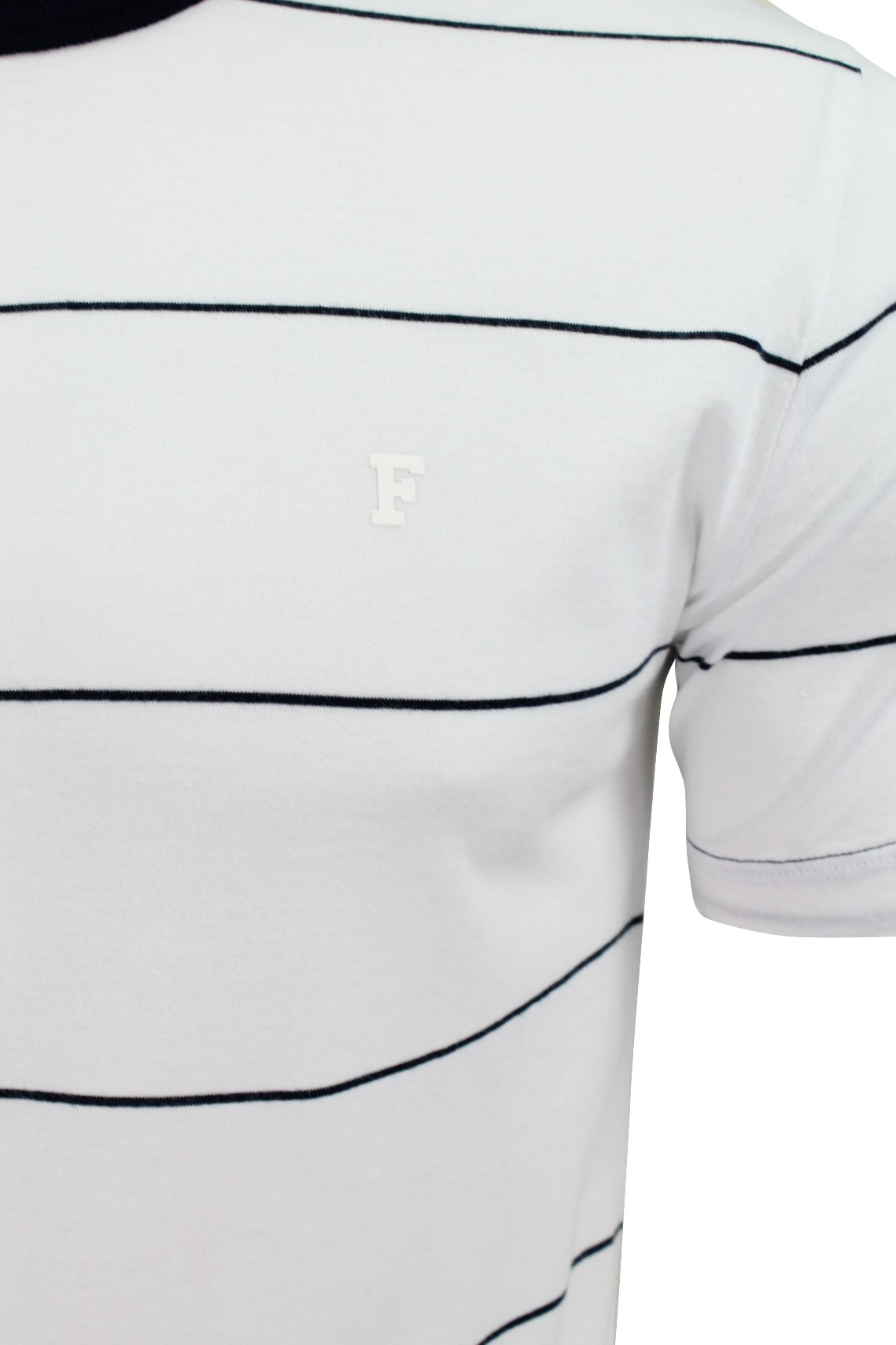 Mens T-Shirt by FCUK//French Connection /'Peached Stripe/' Short Sleeved