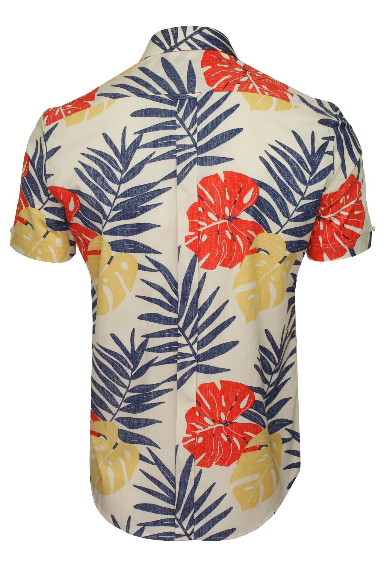 Ben Sherman Mens Shirt Reverse Palm Print Short Sleeved