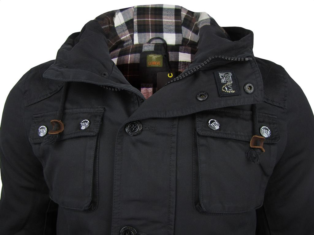 Le Breve Mens 'Bet it' Hooded Military Style Jacket/ Coat
