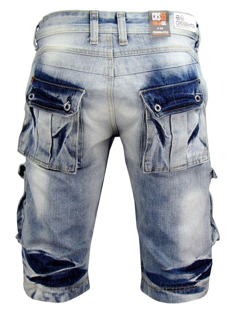 Denim Cargo Shorts Mens