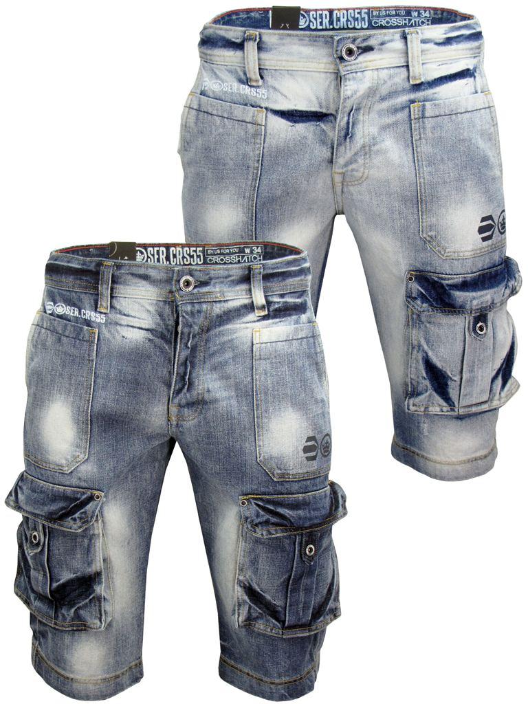 Mens Denim Jean/ Cargo Shorts Crosshatch 'Cult' Retro Vintage Wash ...