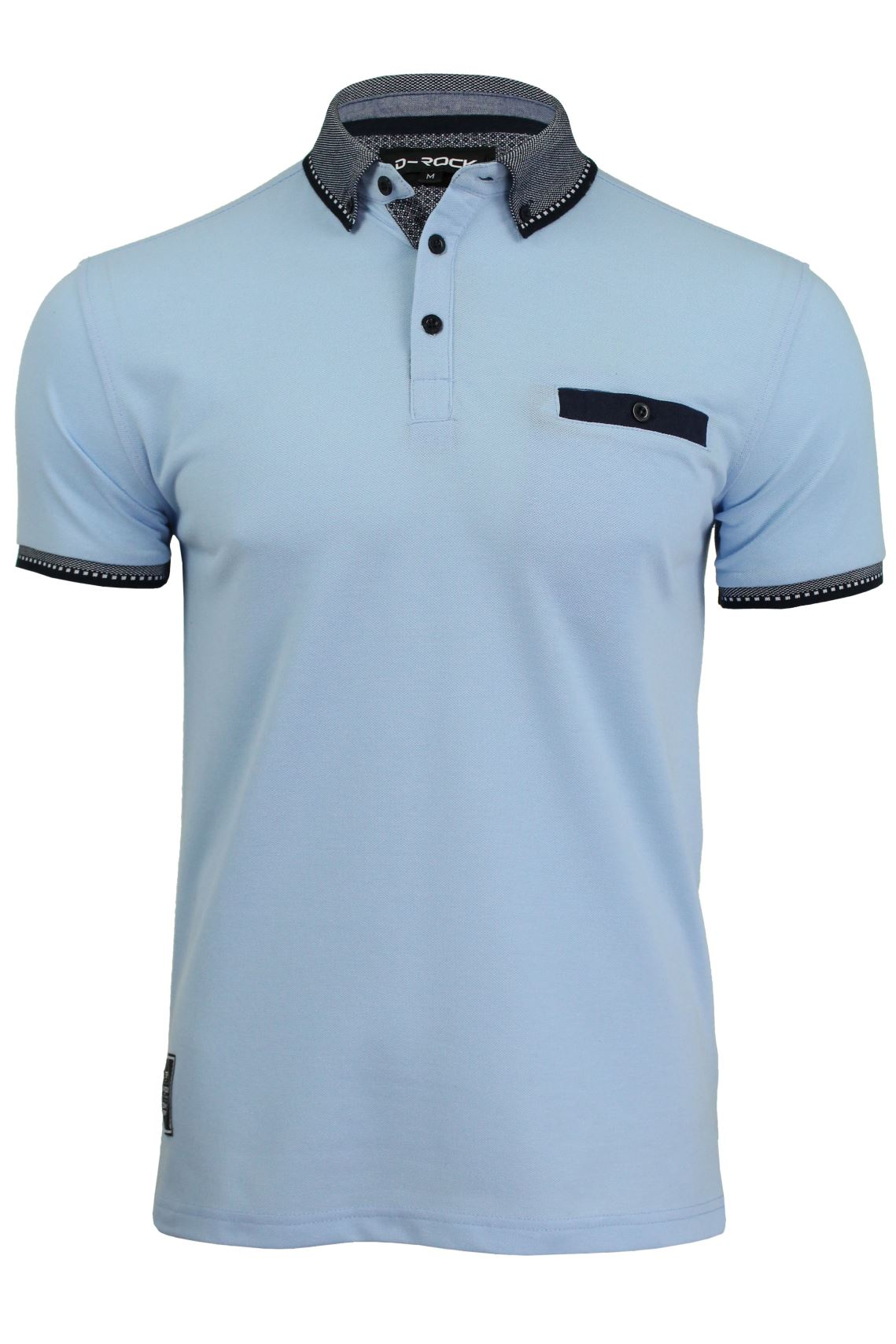 Mens polo t shirt by d rock button collar short sleeved ebay for Polo shirts without buttons