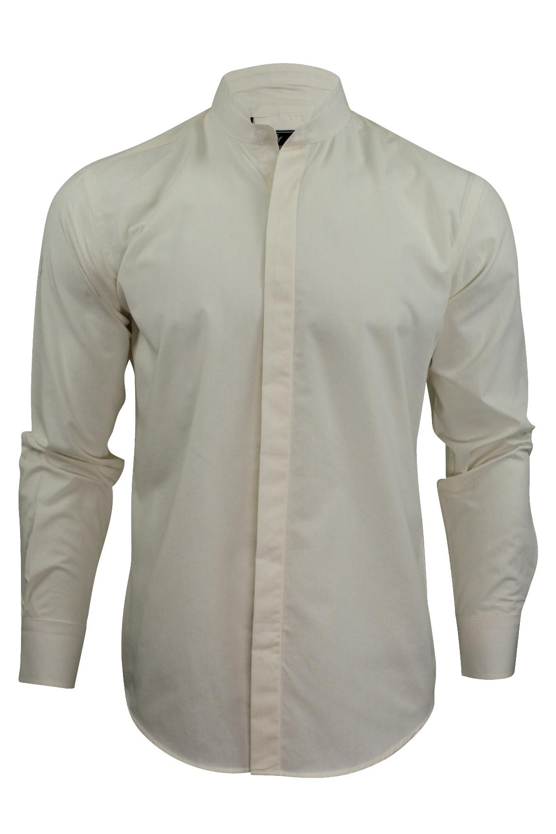 Mens grandad collar shirt by daniel rosso long sleeved ebay Mens grandad collar shirt