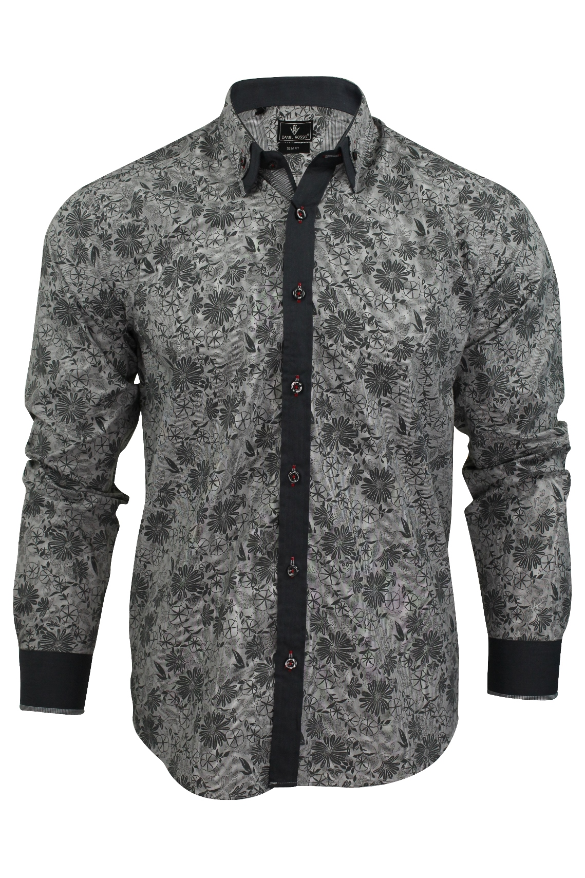 Mens Floral Shirt By Daniel Rosso High Button Down Collar