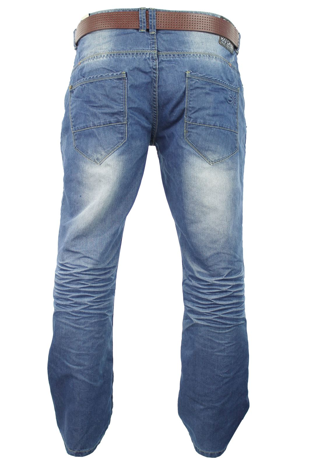mens crosshatch jeans raw stone washed denim button fly ebay. Black Bedroom Furniture Sets. Home Design Ideas