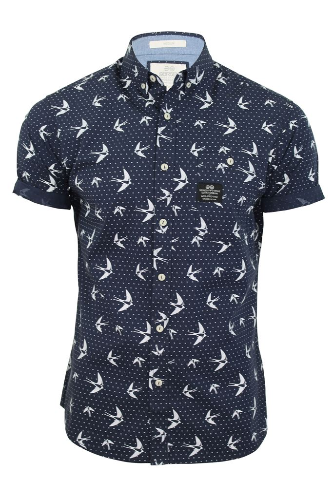 Mens Shirt By Crosshatch Casual 'Flighty' Bird Print ...