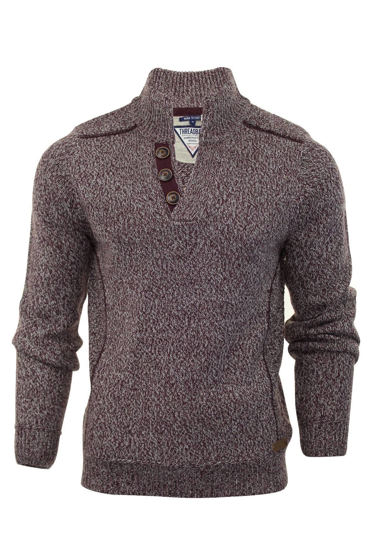 Mens Jumper Funnel Neck Threadbare 'Kinder' Wool Mix Cable Knit ...