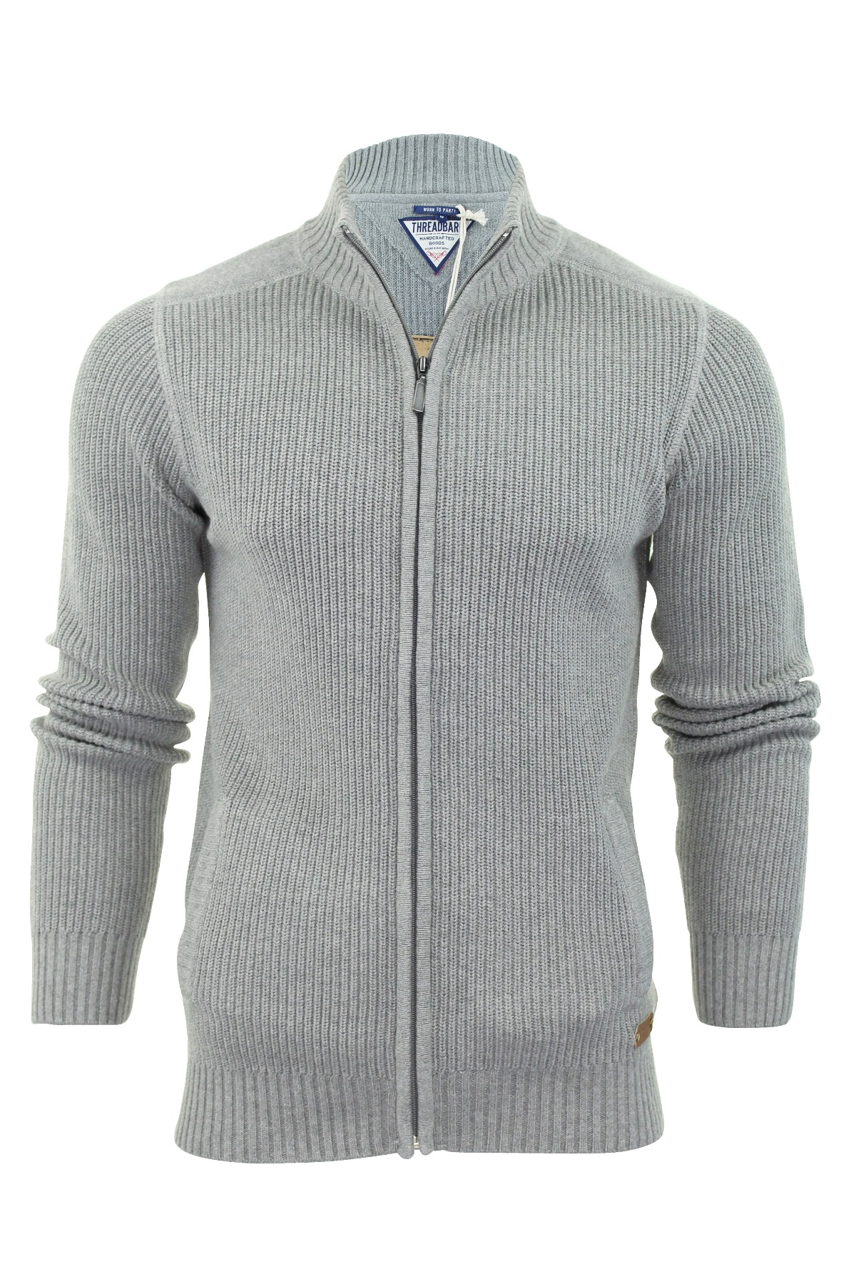 Mens jumper Zip Up Cardigan by Threadbare 'Visage' Cotton Knit ...