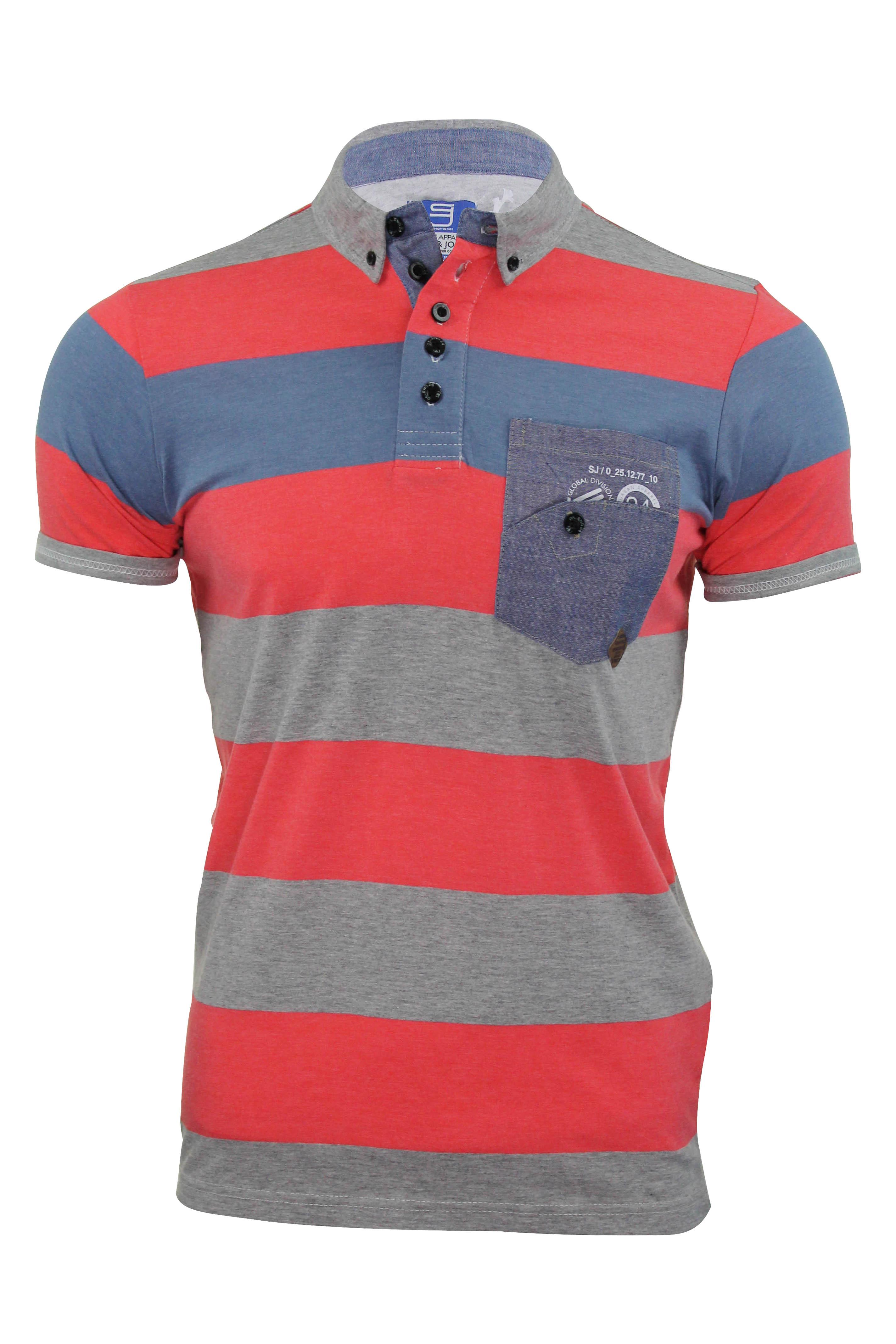 Mens polo shirt smith jones 39 kingham 39 stripe jersey t for Button collar t shirt