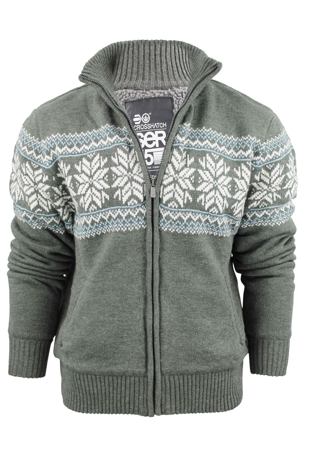 Mens Crosshatch Fair Isle Zip Cardigan Sherpa Fleece Linned ...