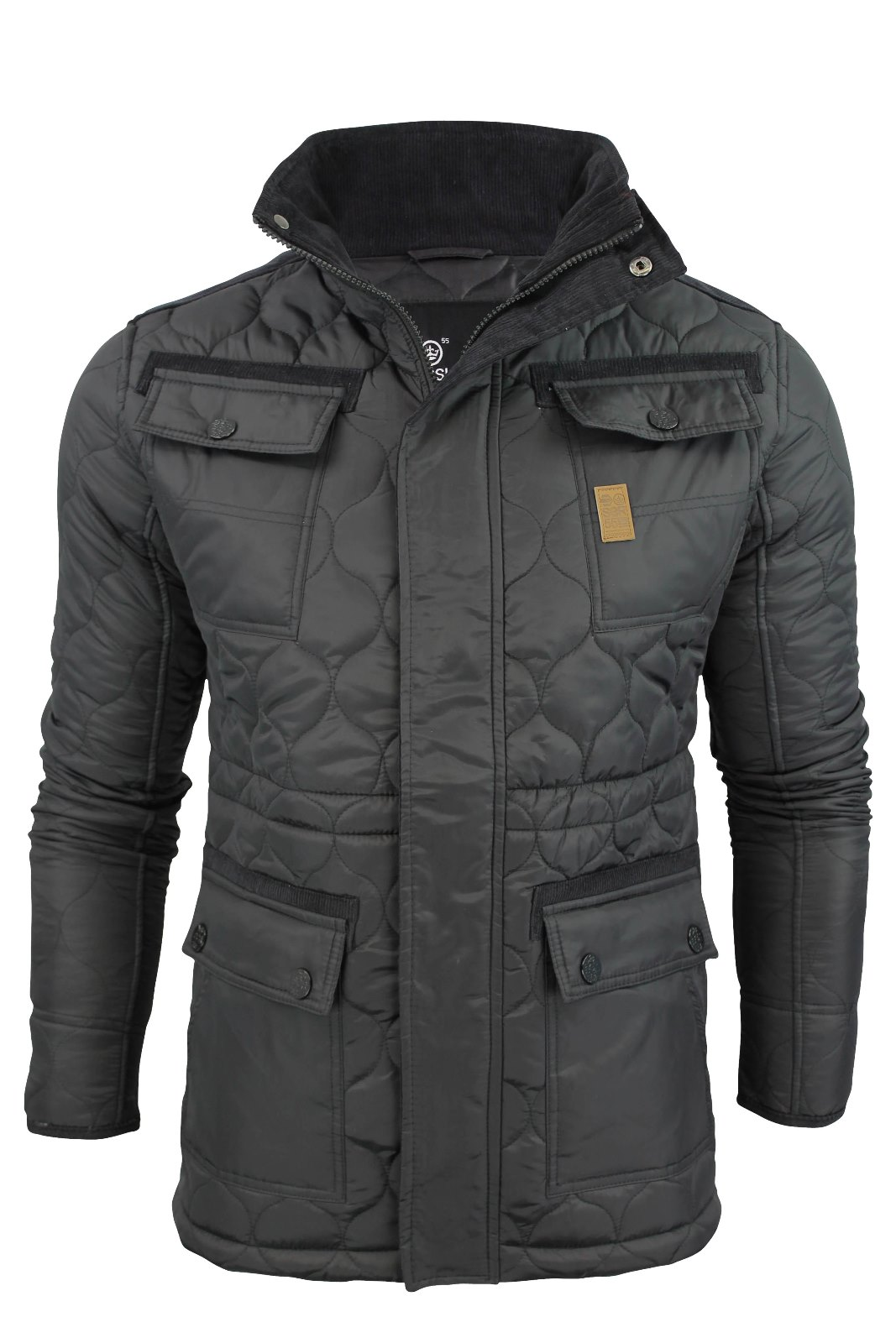 Mens crosshatch diamond quilted jacket coat padded ebay for Quilted jackets for men