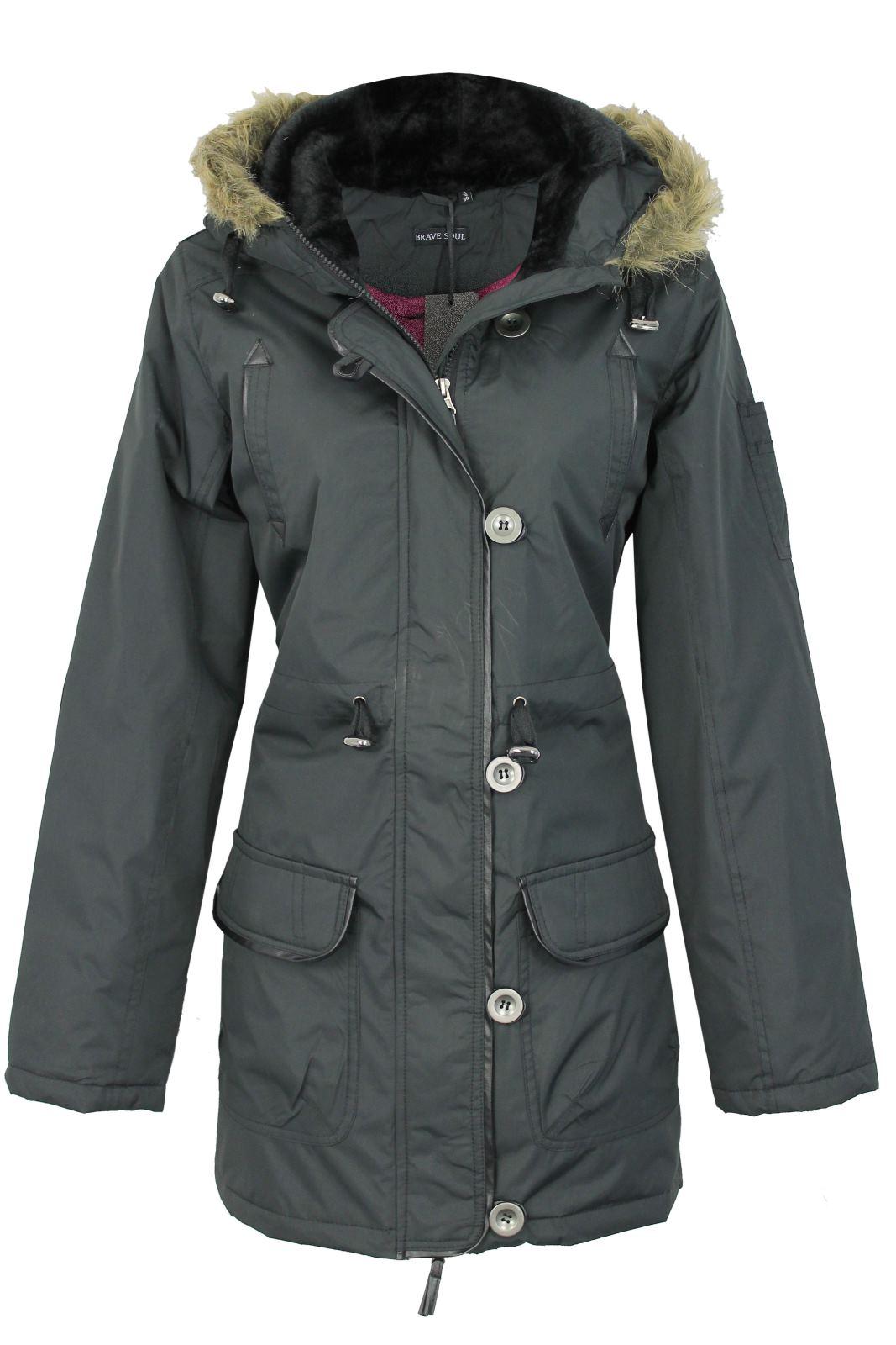 womens ladies brave soul padded parka jacket coat hoddie. Black Bedroom Furniture Sets. Home Design Ideas