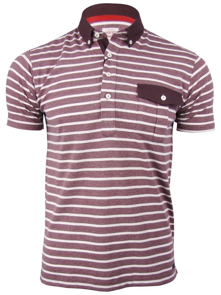Mens lambretta plain stripe button down polo t shirt ebay for Striped button down shirts for men