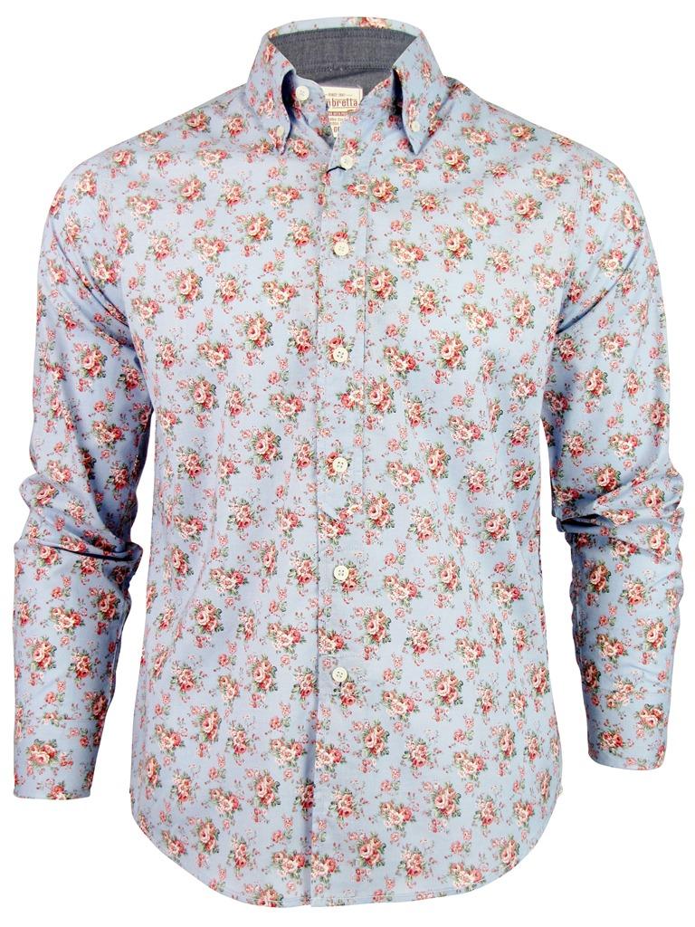 Mens Lambretta Mod Paisley Floral Print Long Sleeve Shirt