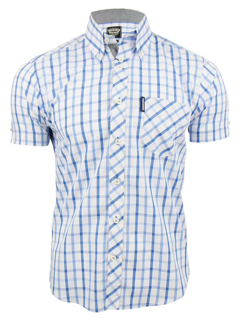 Lambretta-Mens-Classic-Check-Shirt-Short-Sleeved-Button-Down