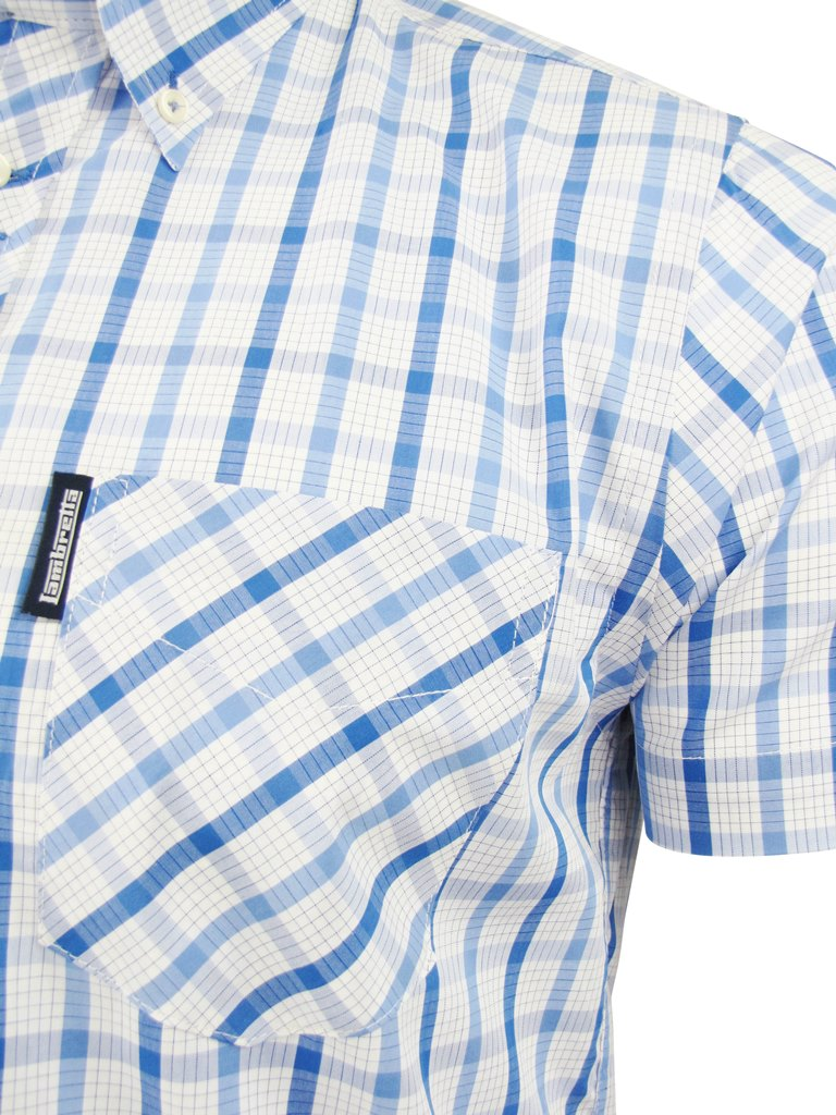 Lambretta-Mens-Classic-Check-Shirt-Short-Sleeved-Button-Down