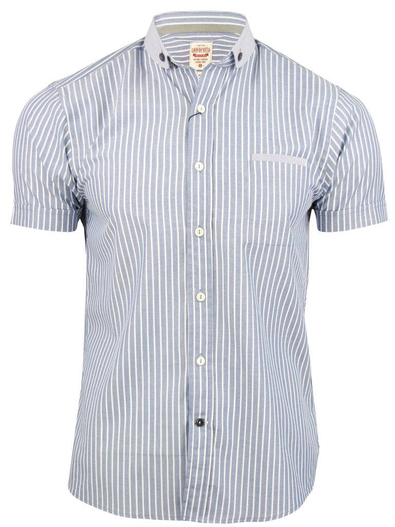 Mens shirt by lambretta stripe penny round collar short for Round collar shirt men