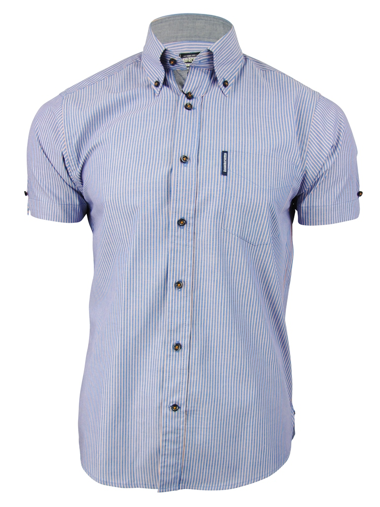 Mens lambretta chambray stripe shirt button down collar for Striped button down shirts for men