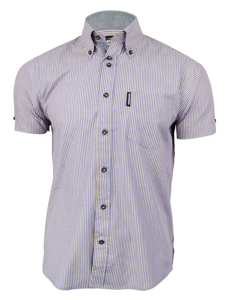 Mens lambretta chambray stripe shirt button down collar for Mens button collar shirts
