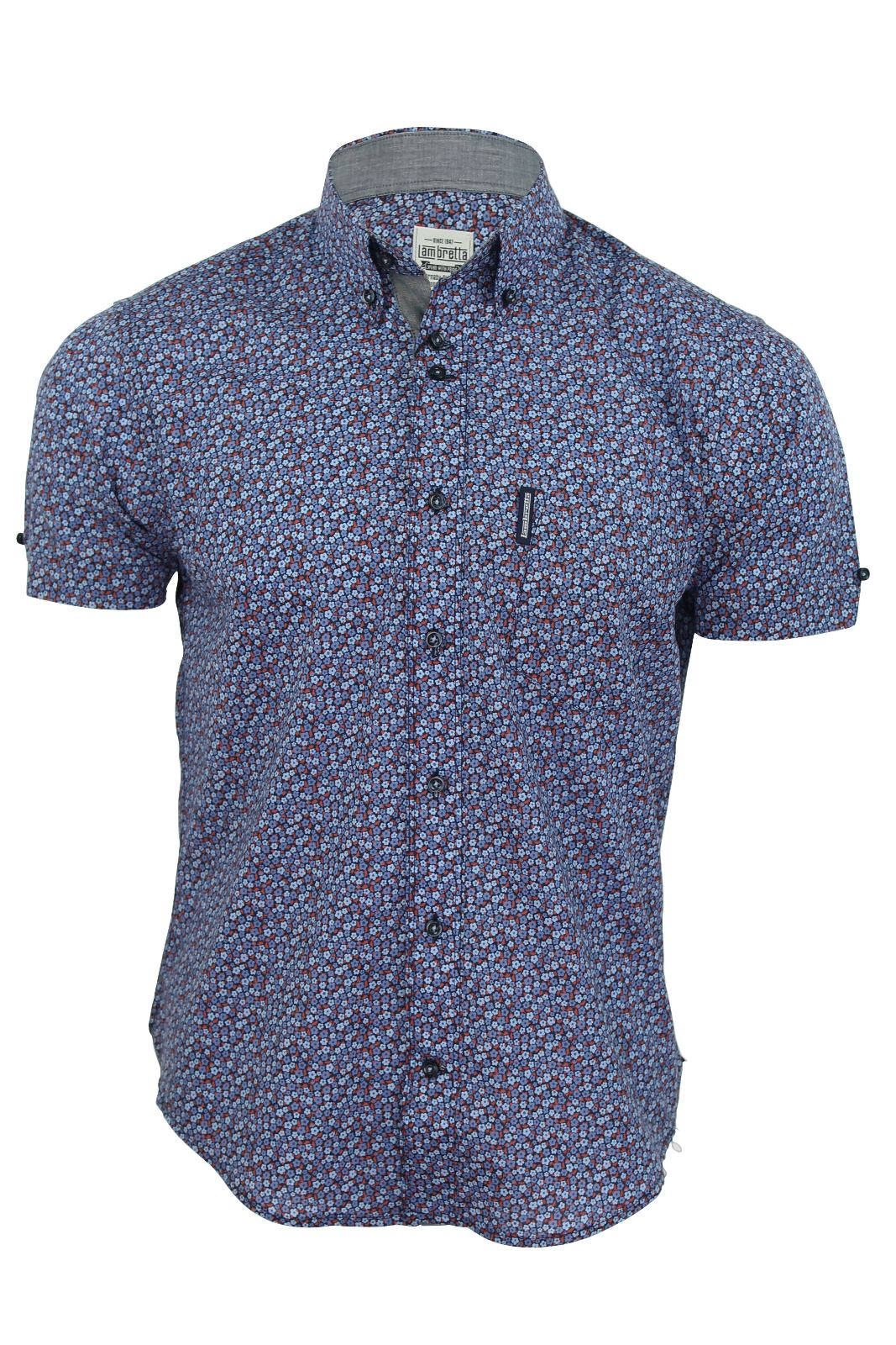 Mens shirt by lambretta floral print short sleeves cotton for Mens short sleeve floral shirt