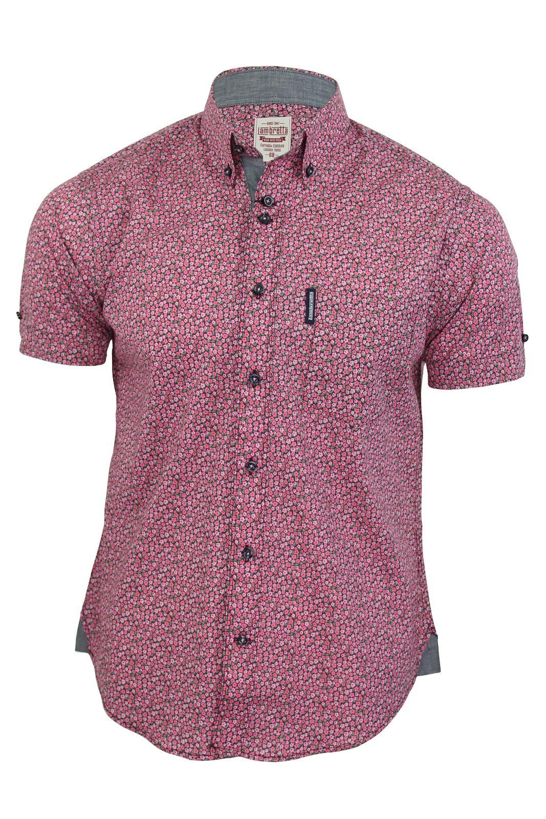 Mens lambretta shirt floral print short sleeves cotton ebay for Mens short sleeve floral shirt