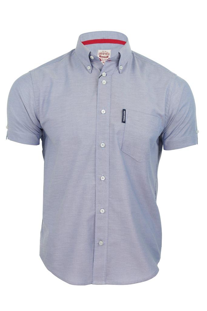 Mens lambretta oxford shirt button down collar short for Men s oxford button down shirts