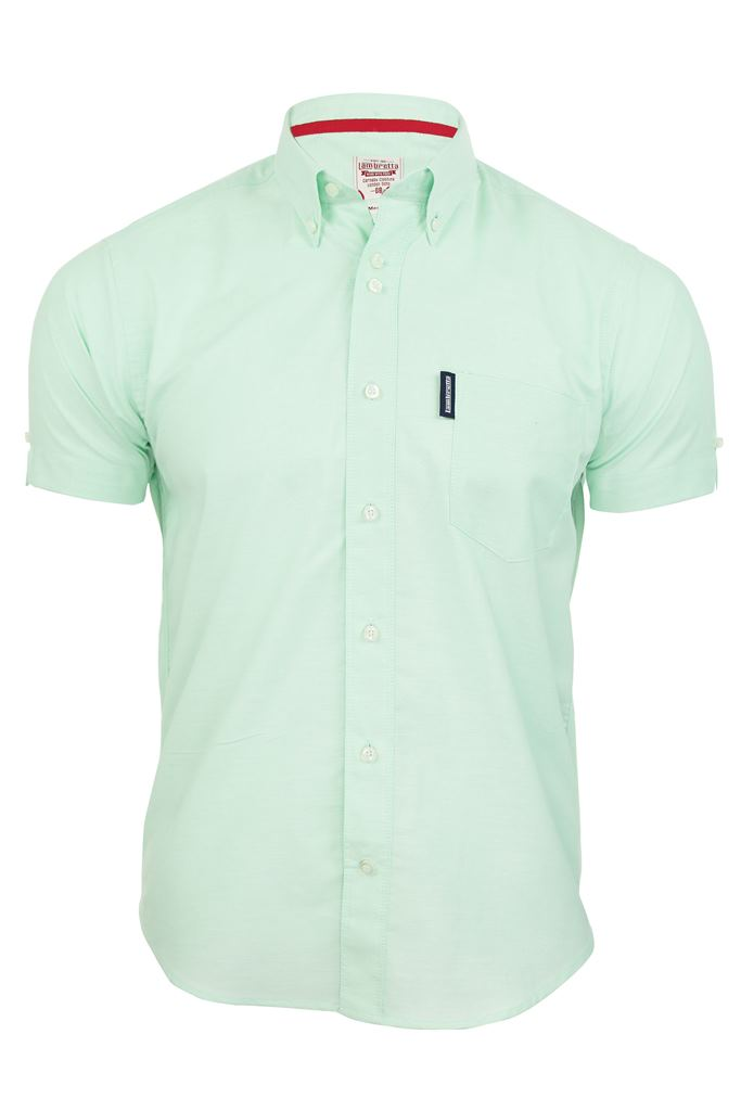 Mens lambretta oxford shirt button down collar short for Three button collar shirts
