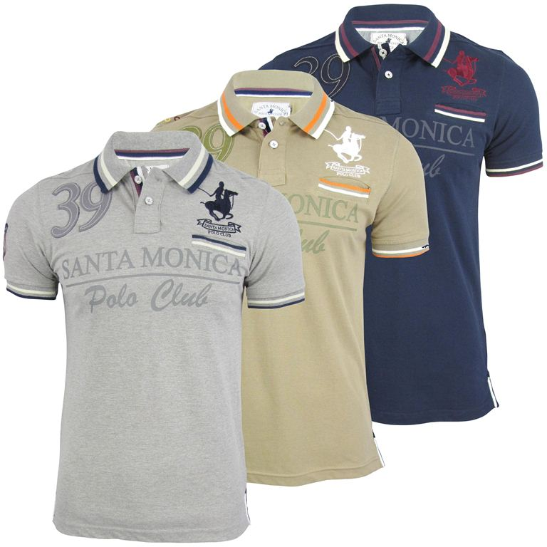 mens santa monica tipped pique polo club t shirt ebay