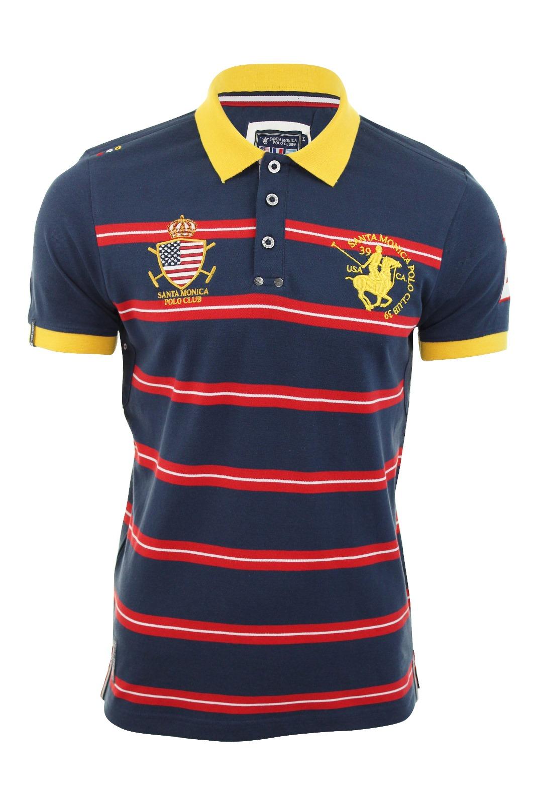 Mens Pique Striped Santa Monica Polo Club T Shirt 39 Keswick