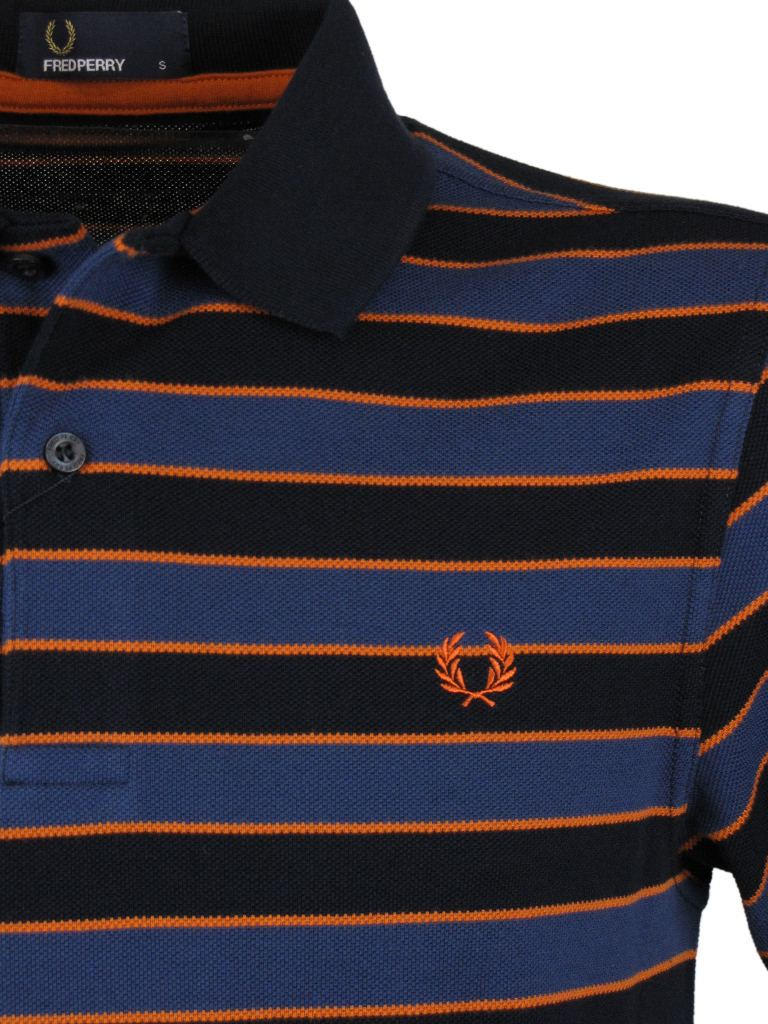 Mens Fred Perry Skinny Striped Striped Polo T-Shirt Navy Enlarged Preview