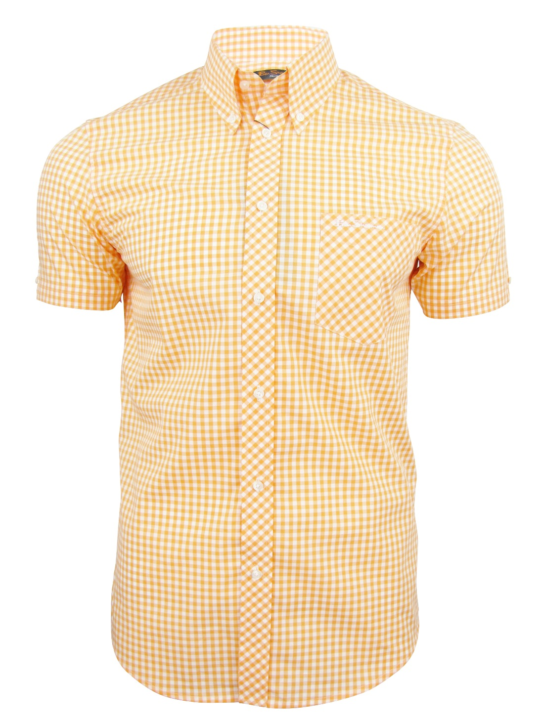 Mens ben sherman shirt wiltshire short sleeve gingham for Mens yellow gingham shirt