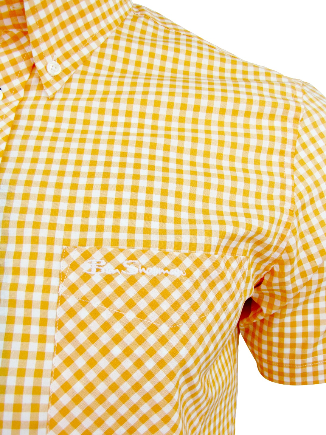 Mens shirt by ben sherman wiltshire short sleeve gingham for Mens yellow gingham shirt