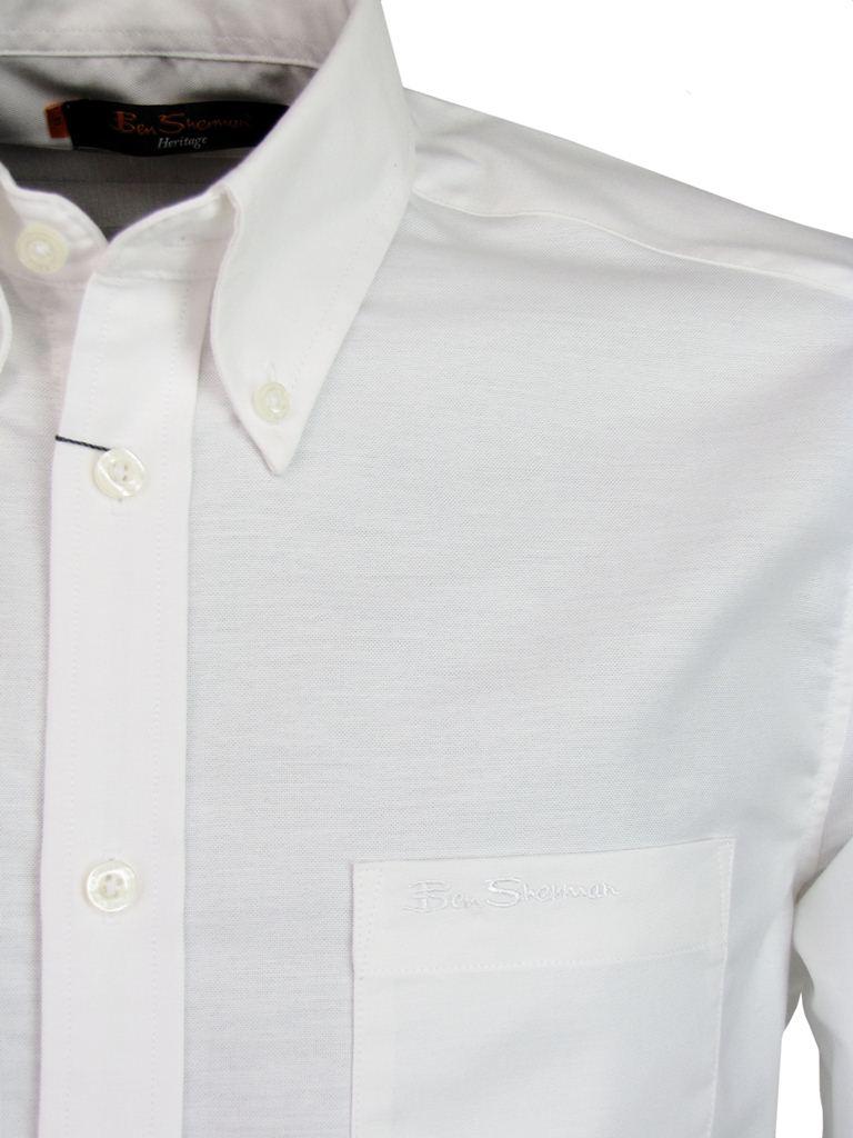 Mens Ben Sherman Classic Eton Oxford Shirt Plain Long Sleeves ...