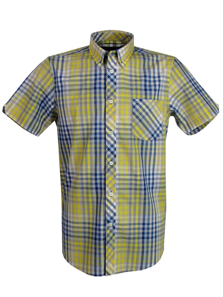 Mens-Ben-Sherman-Shirt-Short-Sleeve-Red-Or-Yellow-Multi-Colour-Gingham