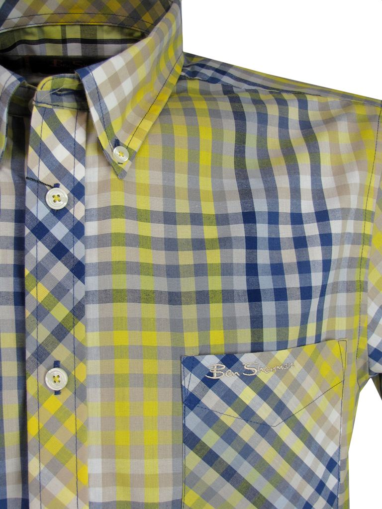 Mens shirt by ben sherman short sleeve red or yellow multi for Mens yellow gingham shirt