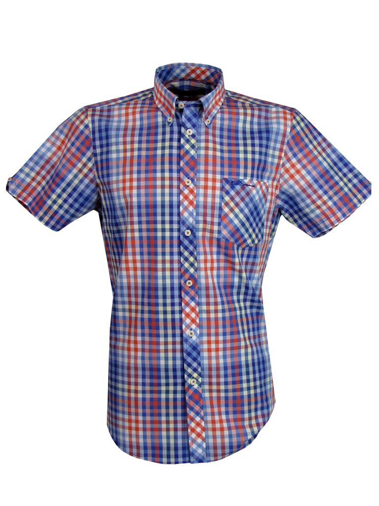 Mens ben sherman shirt short sleeve red or yellow multi for Mens yellow gingham shirt
