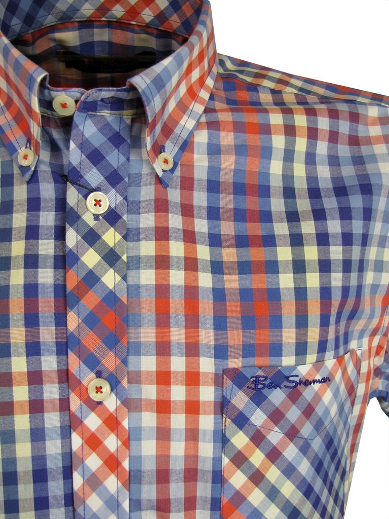 mens shirt by ben sherman short sleeve red or yellow multi