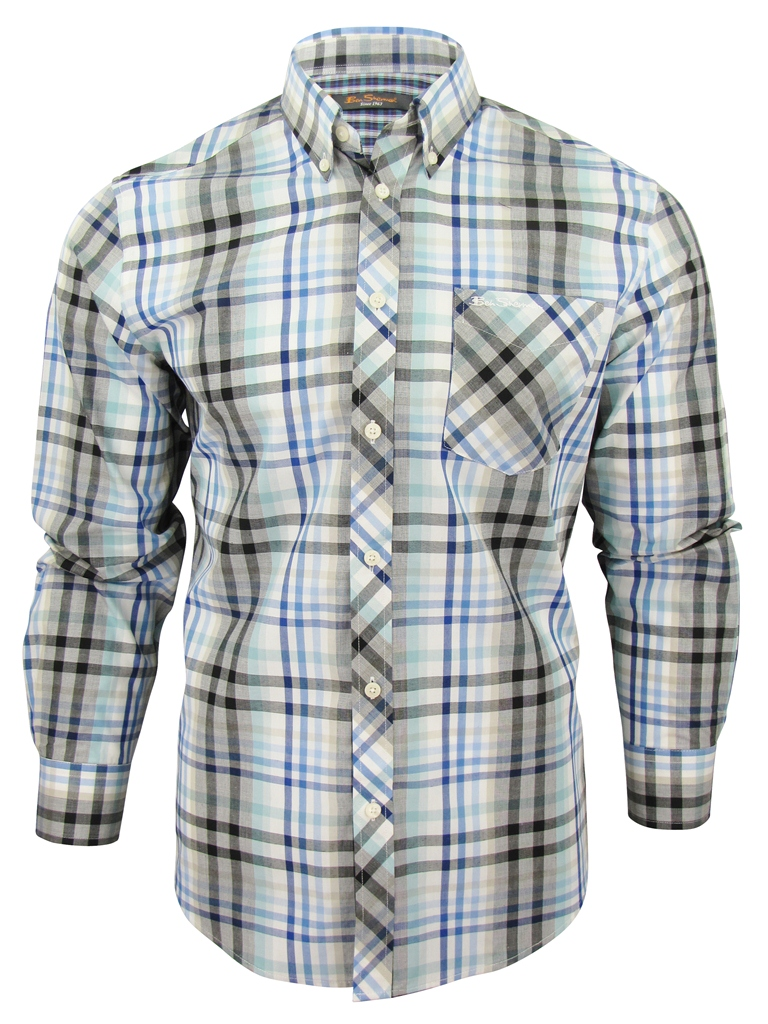 Mens Ben Sherman Fancy Gingham Checked Long Sleeved Shirt