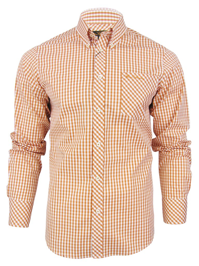 Mens ben sherman mod gingham shirt long sleeved ebay for Mens yellow gingham shirt